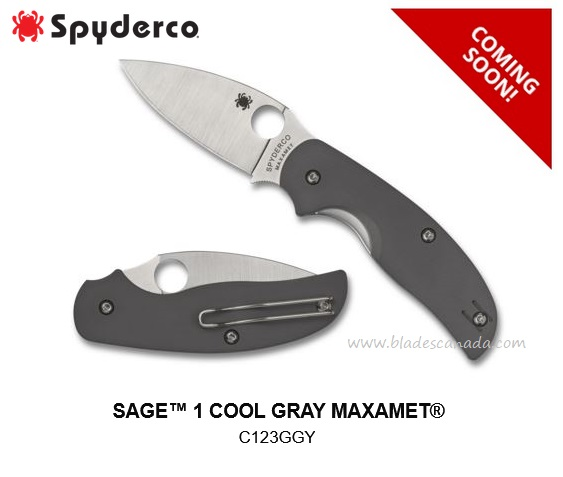 (Coming Soon) Spyderco Knives Sage 1 Cool Gray Maxamet, G10, C123GPGY