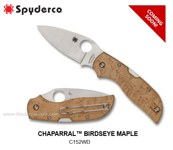 (Coming Soon) Spyderco Knives Chaparral Birdseye Maple, CTS XHP, C152WD