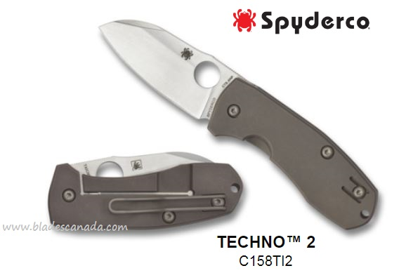 Spyderco Techno 2, CTS XHP, Titanium Handle, C158TI2 (Online Only)