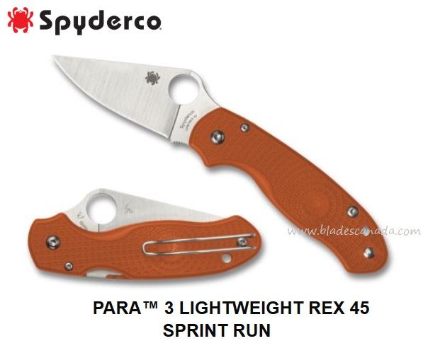 Spyderco Para 3 Lightweight Rex 45 Sprint Run