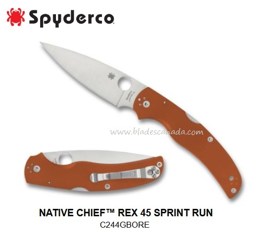 Spyderco Native Chief REX 45, Burnt Orange G10 Sprint Run