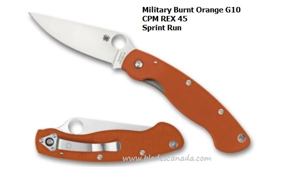 Spyderco Military Burnt Orange G10, REX 45, Sprint Run