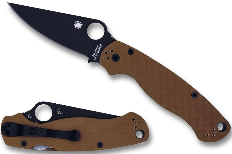 Spyderco Para Military 2 Brown, Black Blade, S35VN, Limited (Online Only)