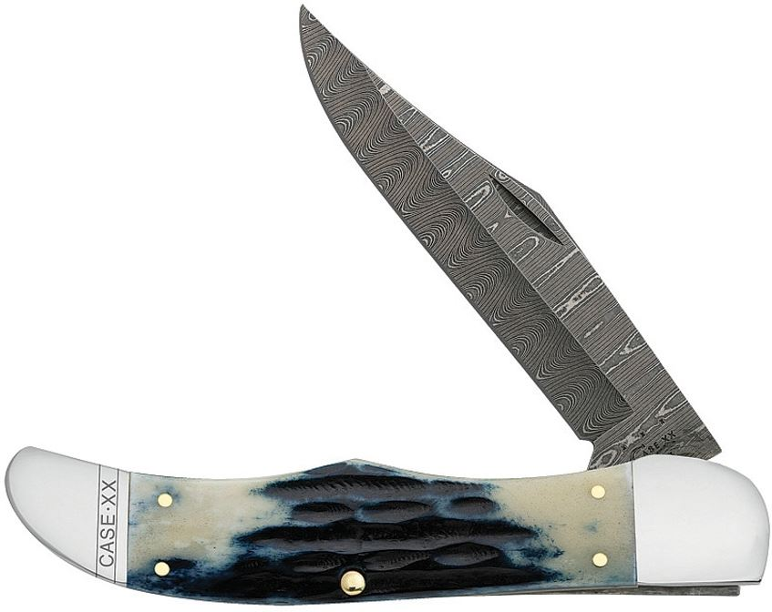 Case 10838 Folding Hunter Damascus Mediterranean Jigged Bone