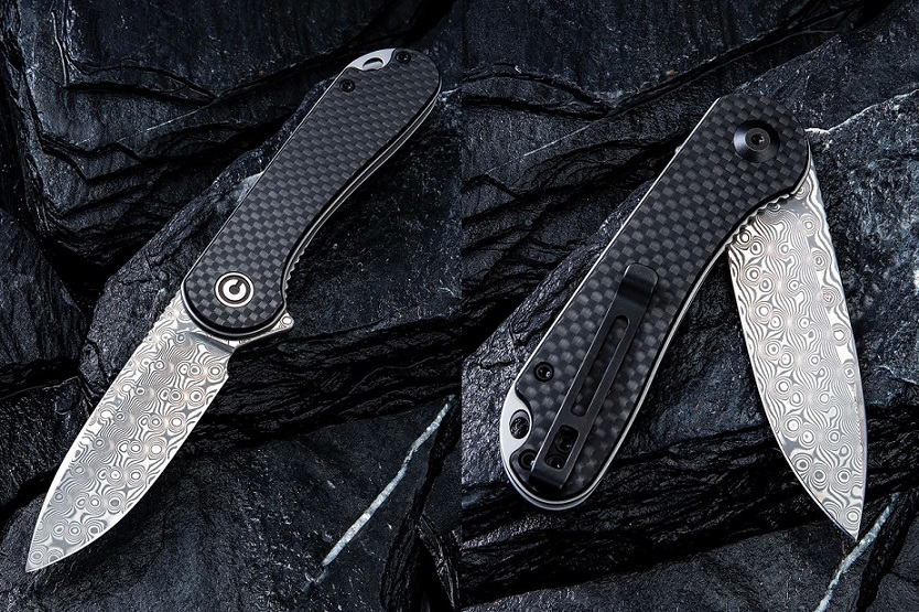 CIVIVI C907DS Elementum Damascus Folder - G10/Carbon Fiber