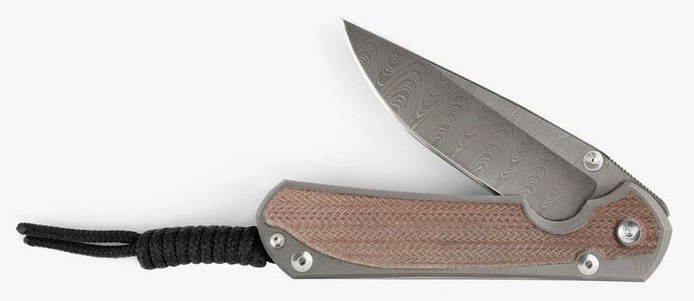 Chris Reeve Large Sebenza 31 Ladder Damascus - Natural Canvas Micarta