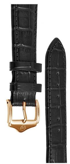 Melbourne Leather Black Croc Grain Watch Strap - 22mm