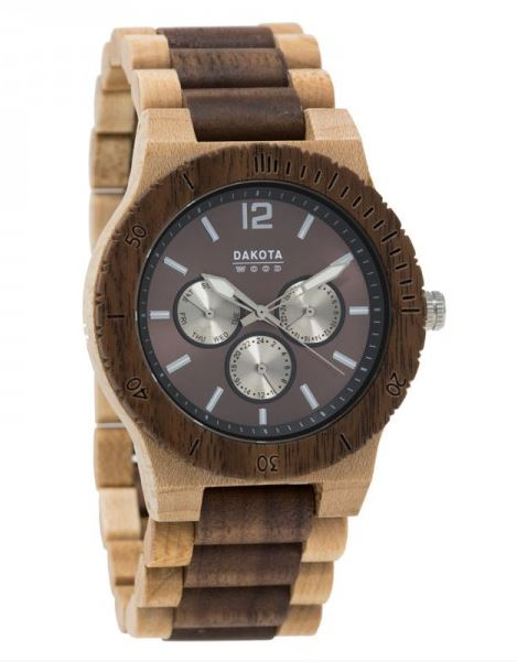 Dakota Watch Company 26333 Wooden Watch Maple/Walnut