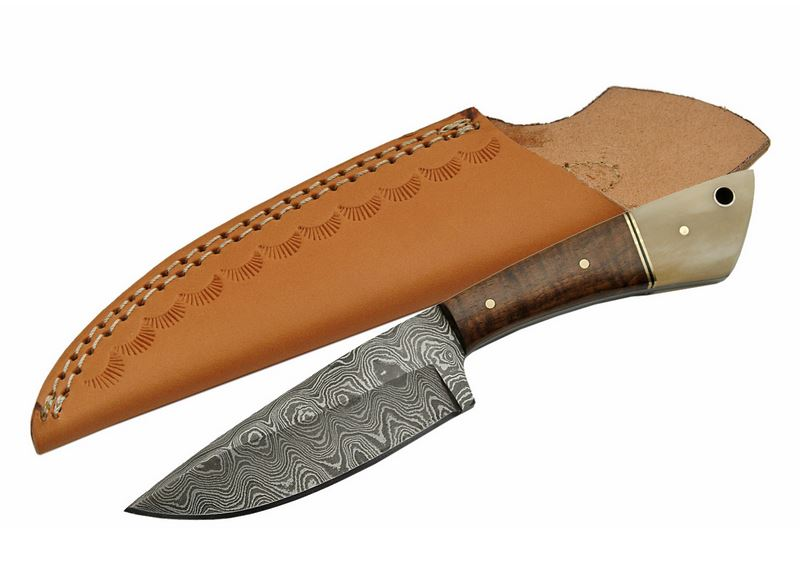Damascus DM1123BO Walnut and Bone Skinner w/ Leather Sheath