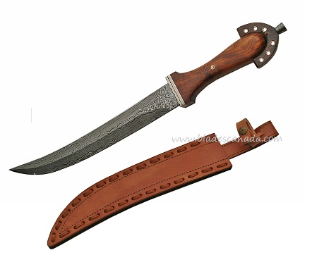 Damascus 5008 Short Sword Rosewood Handle with Leather Scabbard
