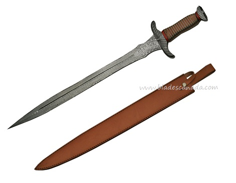 Damascus 5010 Needle Tooth Wired Sword with Leather Scabbard