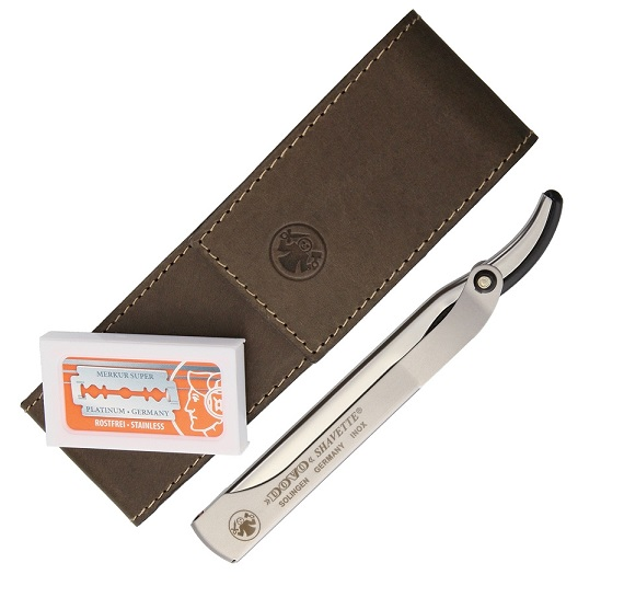 Dovo 577056 Shavette Straight Razor w/ Leather Pouch