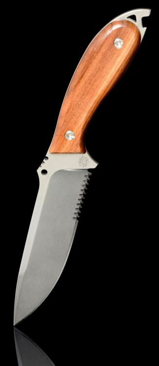 DPX HFX008 HEFT 6 Woodsman Partially Serrated w/ Leather Sheath