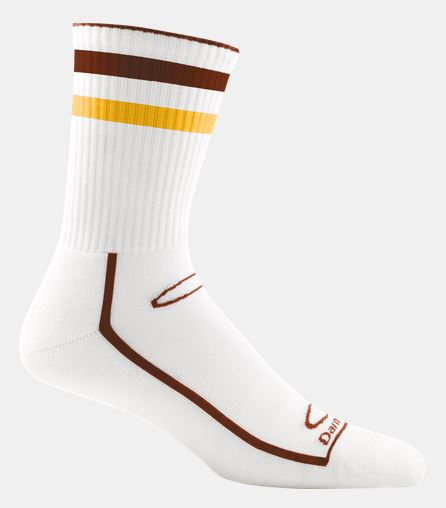 Darn Tough Dynamite Stripe Crew Light Cushion - Maroon/Yellow