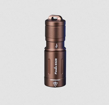 Fenix E02R Rechargeable Keychain Flashlight Brown - 200 Lumens