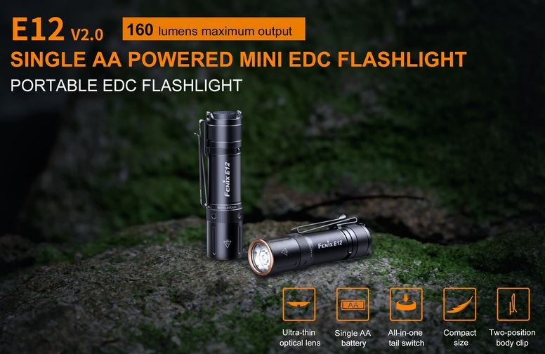 Fenix E12 V2.0 Pocket Flashlight - 160 Lumens