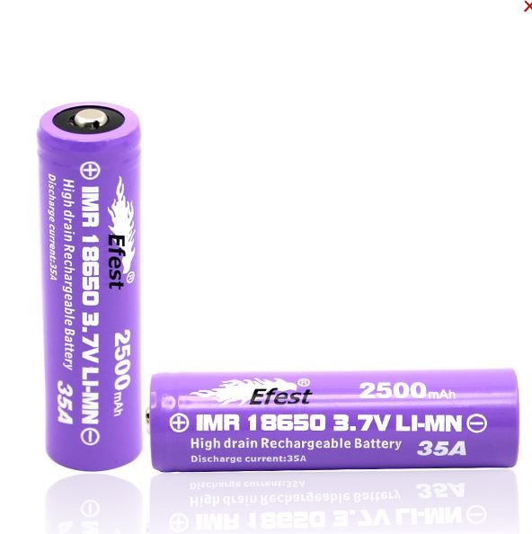 Efest IMR 18650 2500mAh 3.7V Unprotected Battery - Button Top