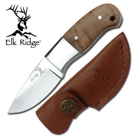 Elk Ridge ER111 Mini Skinner - Burl Handle (Online Only)