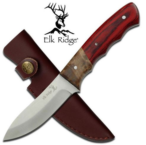 Elk Ridge ER130 Burl & Pakkawood Fixed Blade (Online Only)