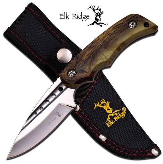 Elk Ridge ER535BC Brown Camo Fixed Bladle (Online Only)