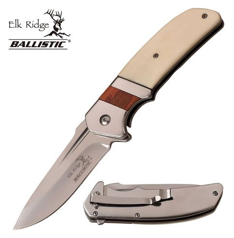 Elk Ridge ERA167BN Framelock White Bone Assisted (Online Only)
