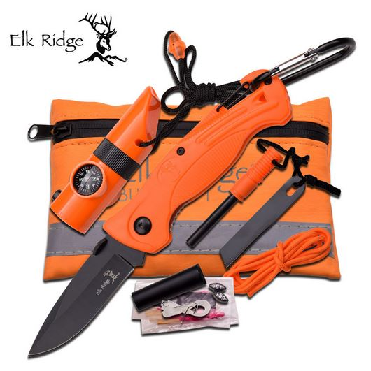Elk Ridge PK4 Folder and Survival Kit - Orange (Online Only)