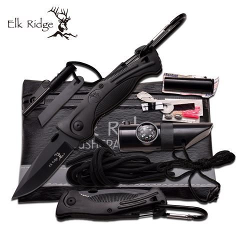 Elk Ridge PK4B Folder and Survival Kit - Black (Online Only)