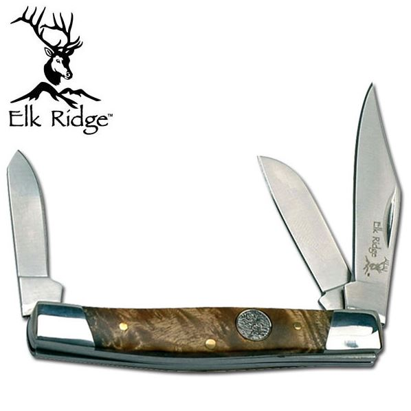 Elk Ridge ER043BW Stockman Pocket Knife- Burl Wood (Online Only)
