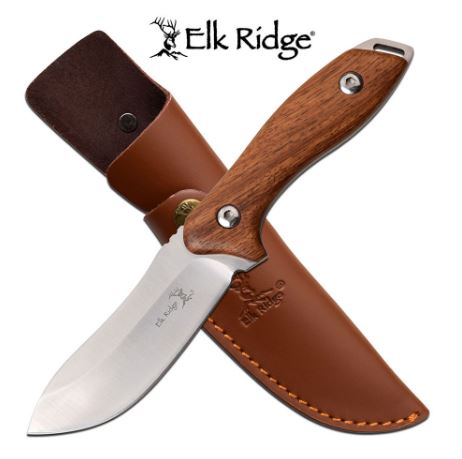 Elk Ridge ER20003RW Wood Knife w/Leather Sheath (Online Only)