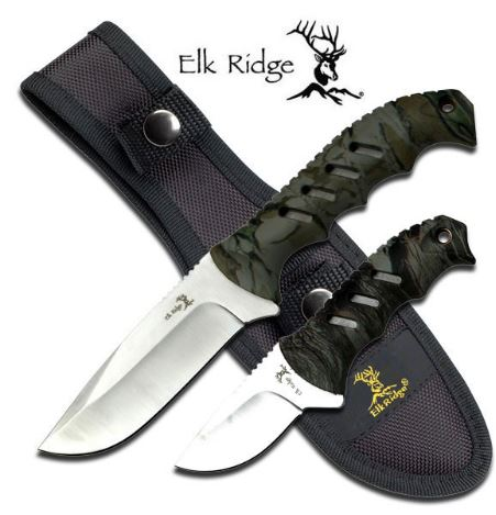 Elk Ridge ER532CA Hunter Combo Set Camo w/ Nylon Sheath (Online)