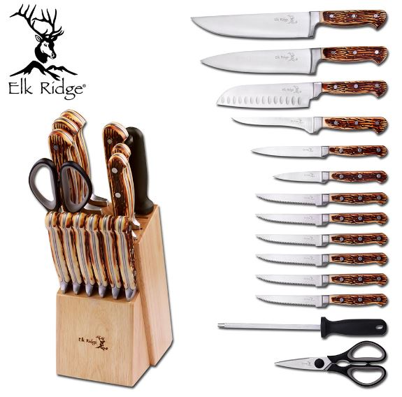 Elk Ridge ER928 15 Piece Kitchen Knife Set / Wood Block (Online)