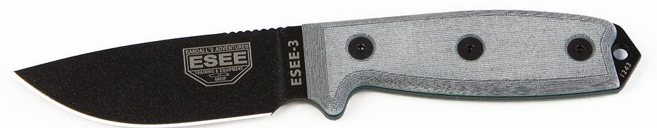 ESEE 3P-MB-B Black Plain Edge, Black Sheath MOLLE Back