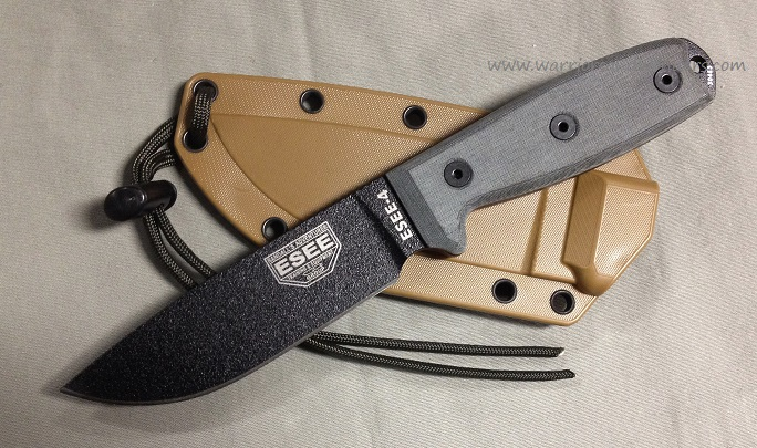 ESEE 4P Black Blade Plain Edge Coyote, Brown Sheath