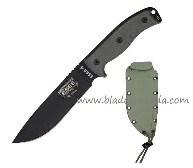 ESEE 6P-OD Black Plain Edge Blade, OD Molded Sheath