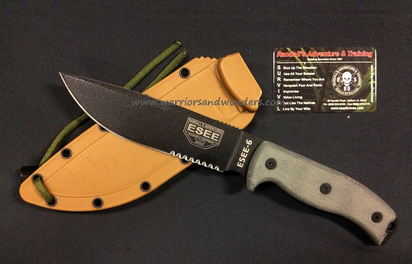 ESEE 6S-CP Clip Point with Serration, Coyote Molded Sheath