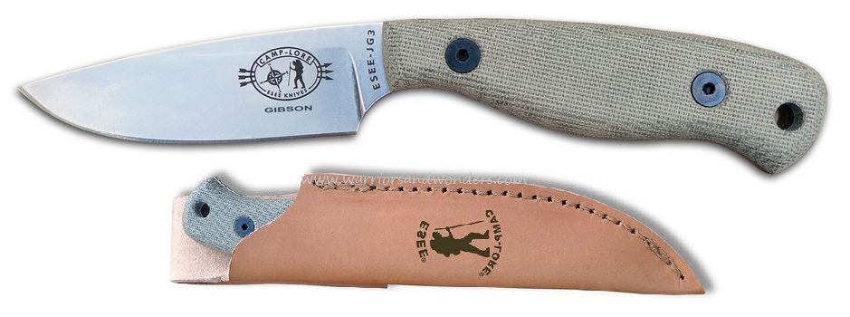 ESEE JG3 Camp-Lore by Gibson, Leather Sheath (Online Only)