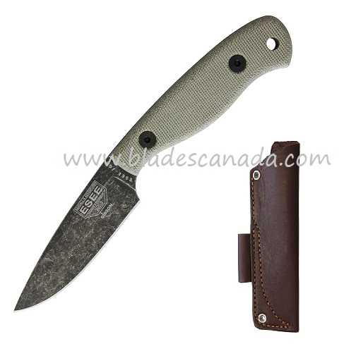 ESEE JG3-JRE Camp-Lore Black Stonewash, JRE Buscraft Sheath