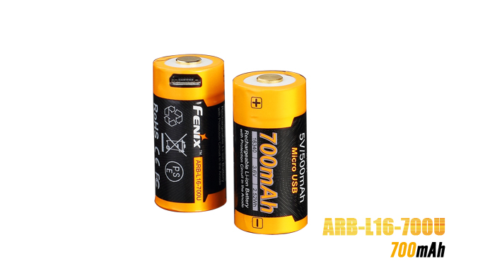 Fenix ARB-L16 700U USB Rechargeable 16340 Battery - 700 mAh