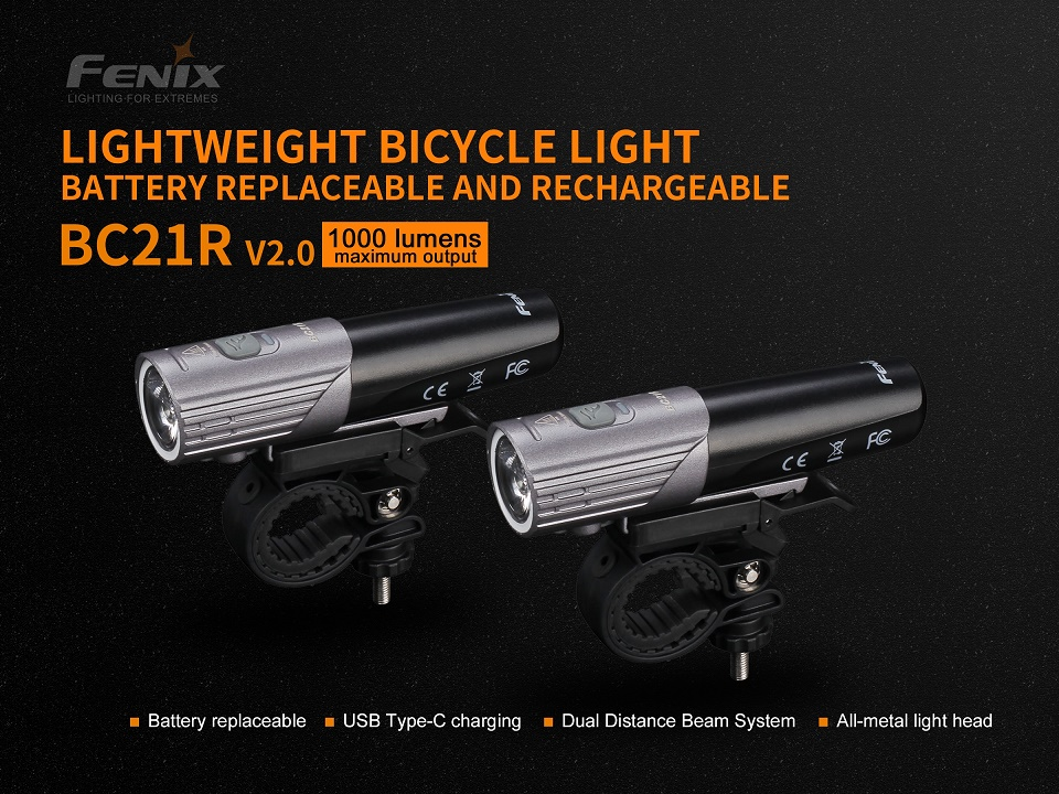 Fenix BC21R V2.0 Bike Light Rechargeable - 1000 Lumens