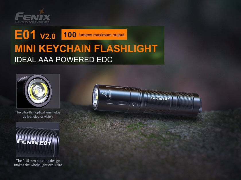 Fenix E01 V2.0 Keychain Flashlight Black - 100 Lumens