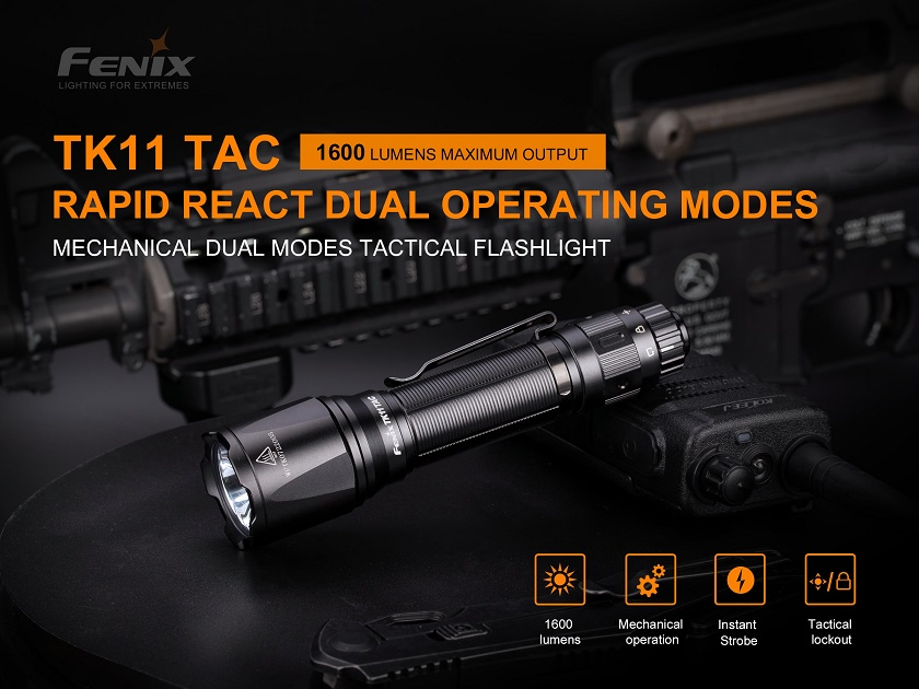 Fenix TK11 TAC Rapid React Dual Operating Flashlight - 1600 Lumens