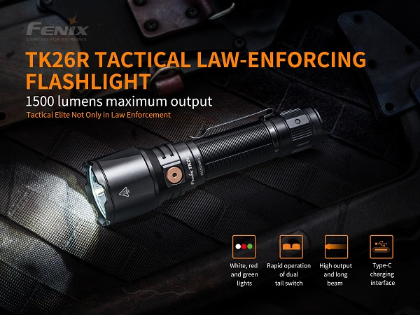 Fenix TK26R Tactical Rechargeable Flashlight - 1500 Lumens