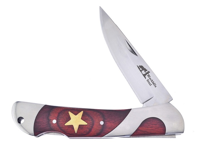 Frost Blackhills Steel BKH-01 Lockback Star Folder, Pakkawood