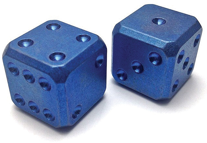 Flytanium Co. 002 Cuboid Large Titanium Dice Set - Blue