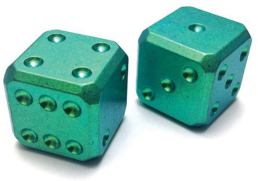 Flytanium Co. 003 Cuboid Large Titanium Dice Set - Green