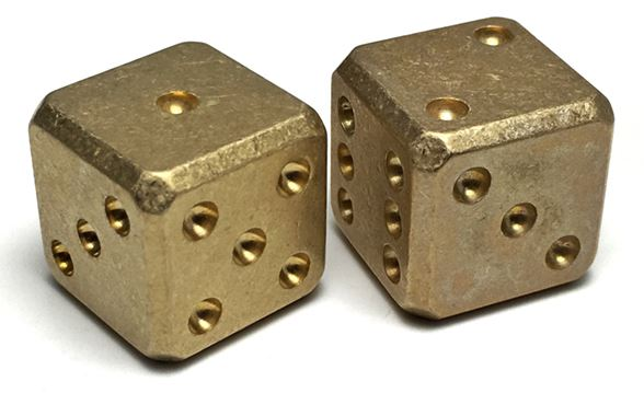 Flytanium Co. 008 Cuboid Large Brass Dice Set