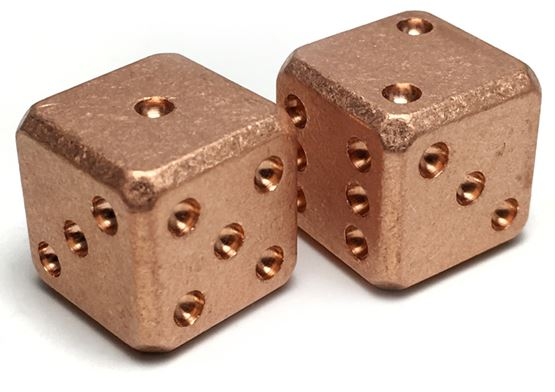 Flytanium Co. 009 Cuboid Large Copper Dice Set