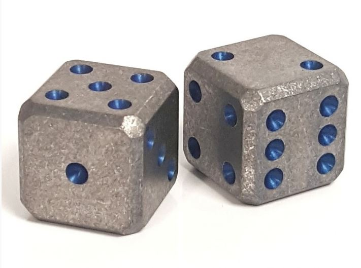 Flytanium Co. Cuboid Large Titanium SW D6 Dice Set - Blue Pips