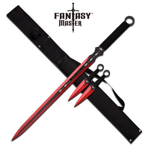 Fantasy Master FM644RD Sword & Thrower Set - Red (Online Only)