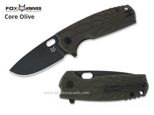 Fox Knives Italy Core Olive Flipper Folder, N690, 01FX318